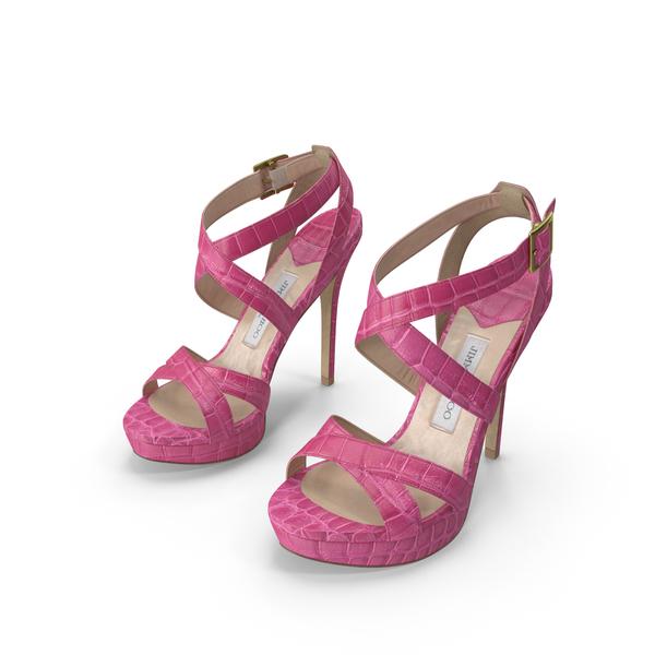 High Heel: Crocodile Sandals Pink PNG & PSD Images