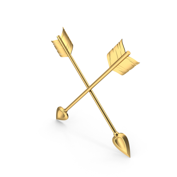 Directional Arrow: Cross Golden Arrows PNG & PSD Images