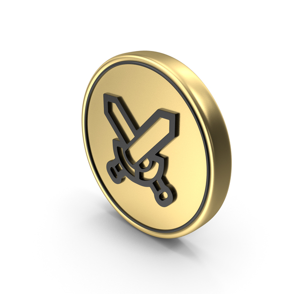 Sword: Crossed Sward Coin Logo Icon PNG & PSD Images