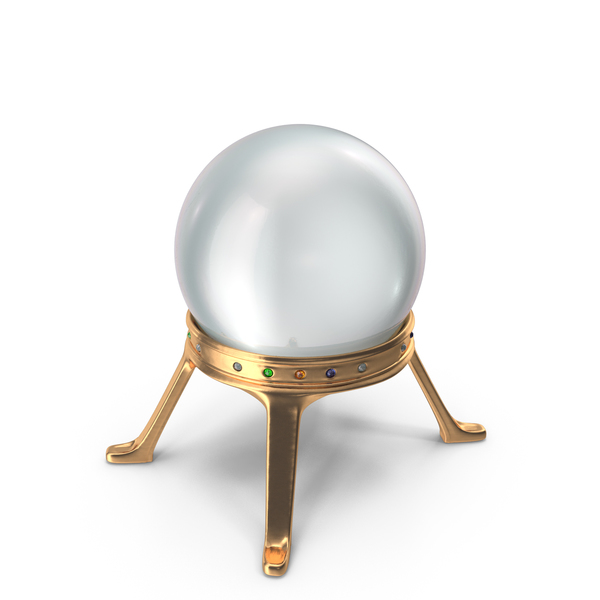 General Decor: Crystal Ball in a Golden Holder with Mixed Gems PNG & PSD Images
