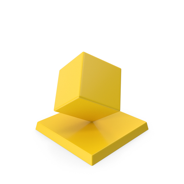 Cube Trophy Yellow PNG & PSD Images