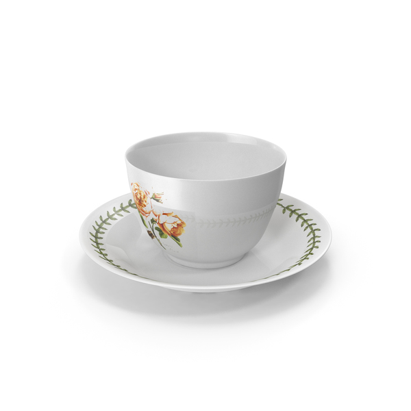 China Service: Cup and Plate Roses Theme PNG & PSD Images