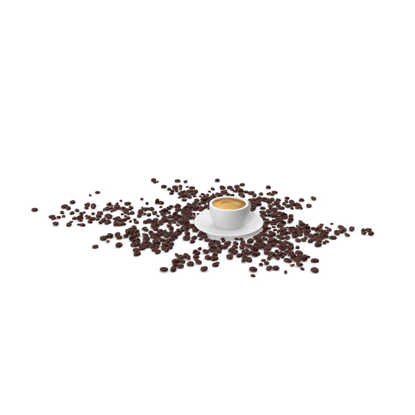 Cup of Espresso with Coffee Beans PNG & PSD Images