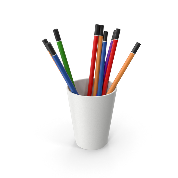 Pen Holder: Cup With Colored Pencils PNG & PSD Images