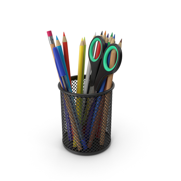 Pen Holder: Cup With Pencils And Pens PNG & PSD Images