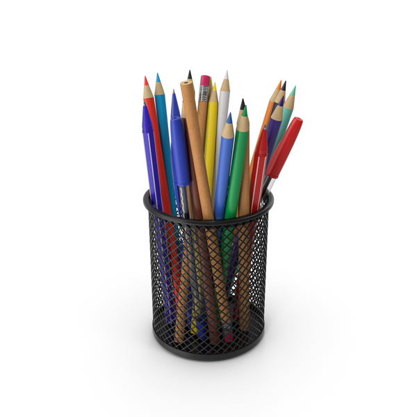 Cup With Pens And Pencils PNG & PSD Images