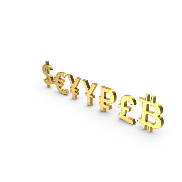 Currency Symbols Golden Set PNG & PSD Images