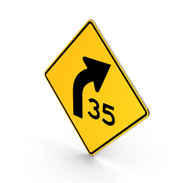 Traffic Signs: Curve with Speed Advisory PNG & PSD Images