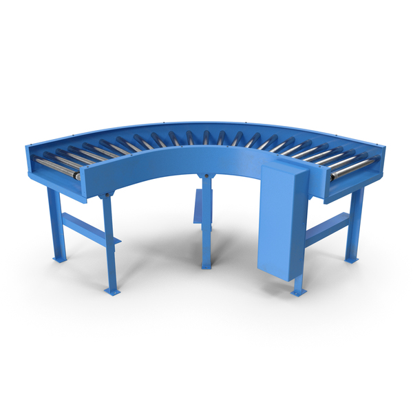 Curved Belt Drive Roller Conveyor PNG & PSD Images