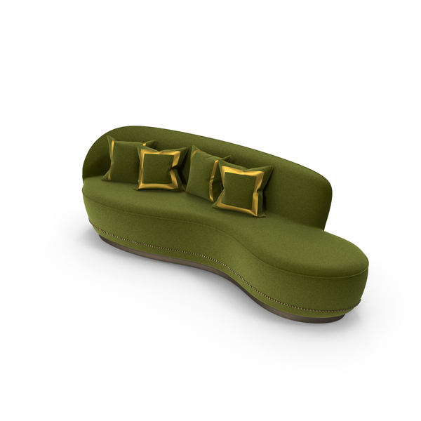 Curved Green Sofa PNG & PSD Images
