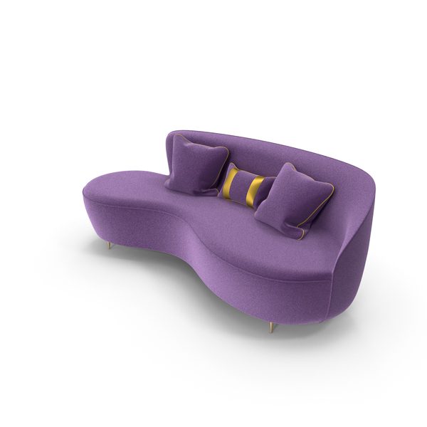 Curved Purple Sofa PNG & PSD Images