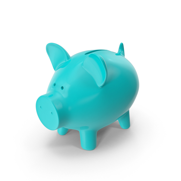 Cyan Piggy Bank PNG & PSD Images