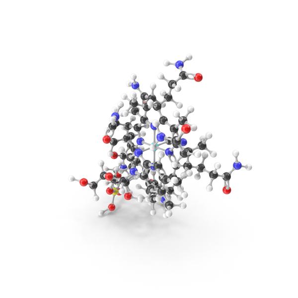 Cyanocobalamin (Vitamin B12) Molecular Model PNG & PSD Images