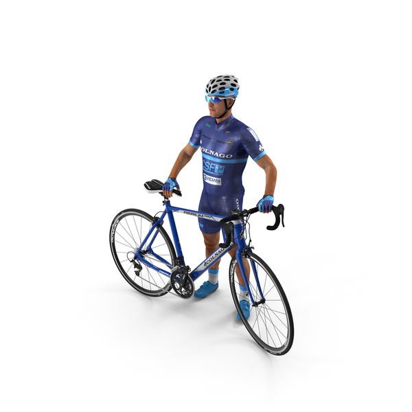 Helmet: Cyclist Athlete in Blue Suit with Bicycle PNG & PSD Images
