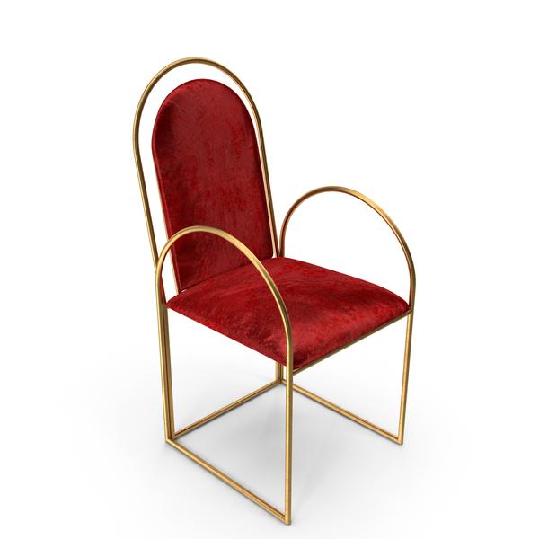 Cygnus Velvet Brass Chair PNG & PSD Images