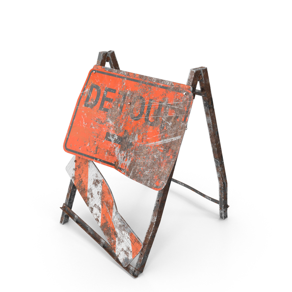 Damaged Construction Work Sign Object