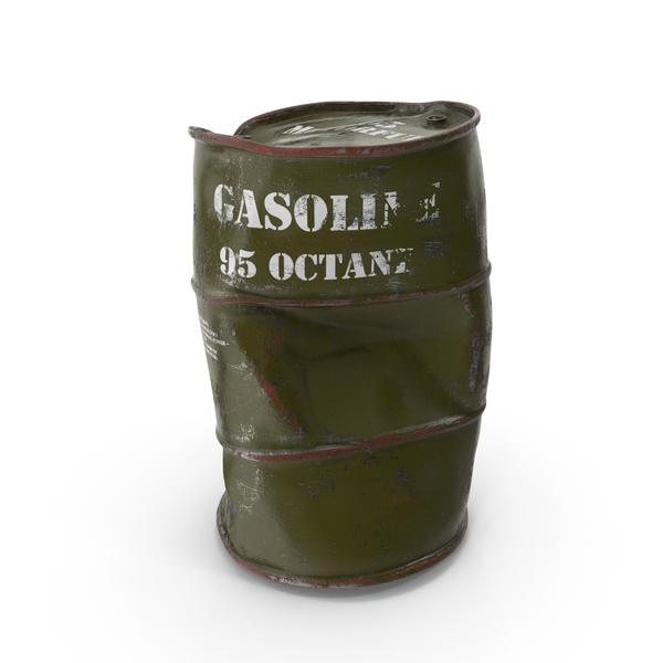 Oil Drum: Damaged Gasoline 95 Octane Metal Barrel PNG & PSD Images