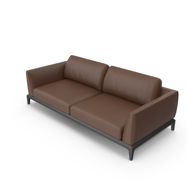 Dark Brown Leather Office Sofa PNG & PSD Images