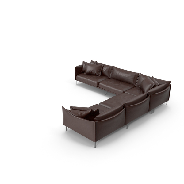 Leather: Dark Brown Sofa PNG & PSD Images