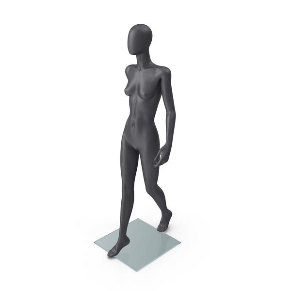 Dark Grey Female Mannequin Walking Pose PNG & PSD Images