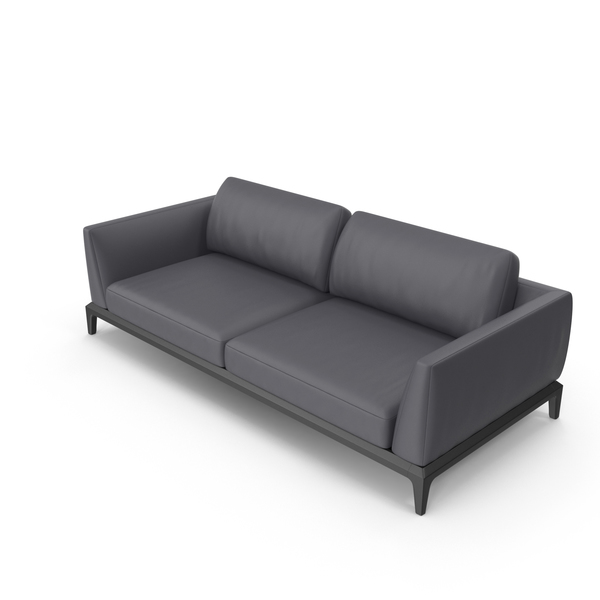 Dark Grey Leather Office Sofa PNG & PSD Images