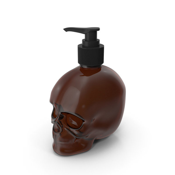 Sanitizer Dispenser: Dark Medical Glass Skull Bottle with Black Pump PNG & PSD Images