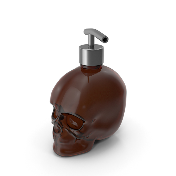 Dark Medical Glass Skull Bottle with Silver Dispenser PNG & PSD Images