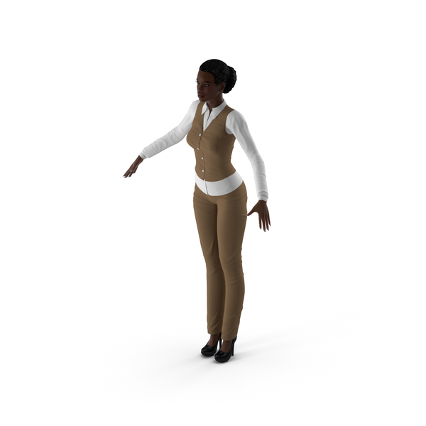 Dark Skin Business Style Woman Neutral Pose PNG & PSD Images