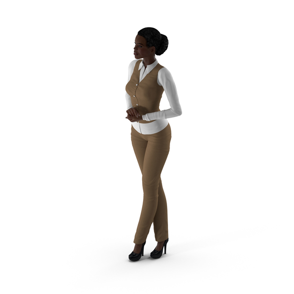 Dark Skin Business Style Woman Standing Pose PNG & PSD Images