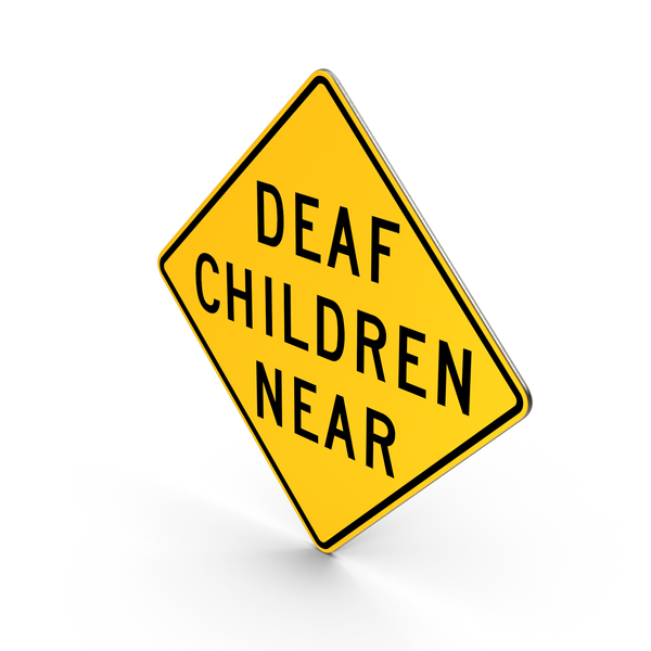 Deaf Children Near California Road Sign PNG & PSD Images