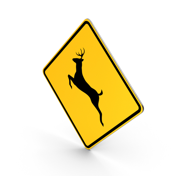 Deer Crossing Road Sign PNG & PSD Images