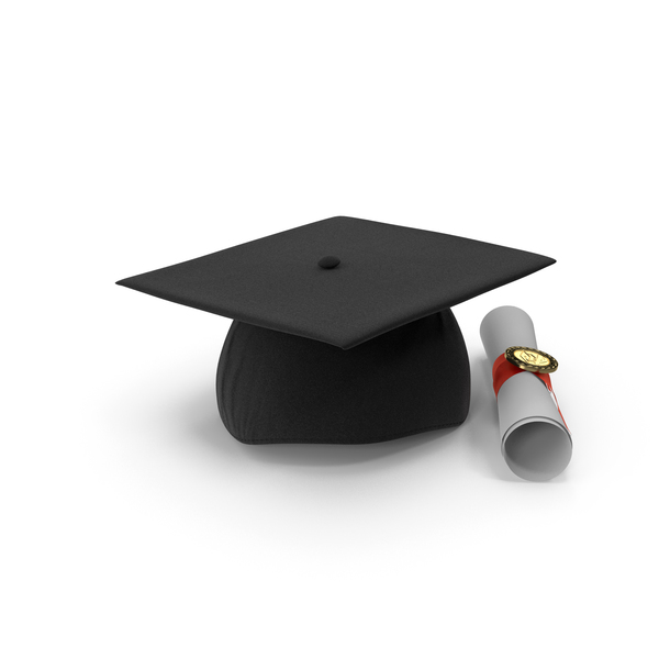Diploma: Degree Scroll and Graduation Cap PNG & PSD Images