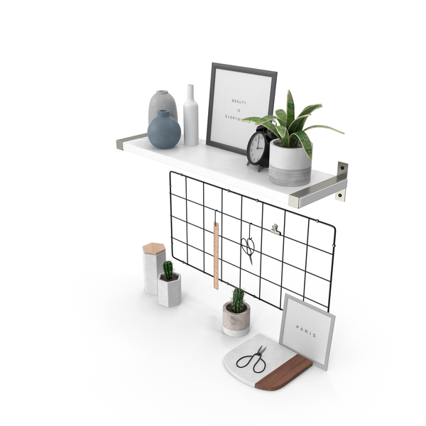General Decor: Designer Shelf Set PNG & PSD Images