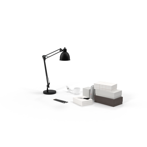 Desk Lamp and Office Supplies PNG & PSD Images