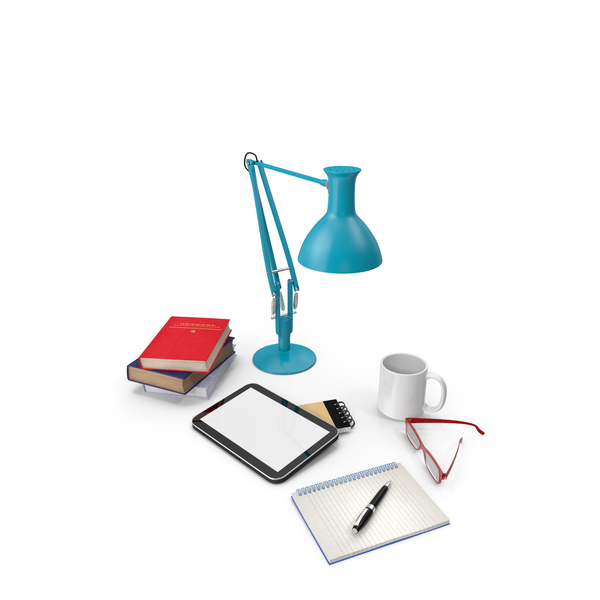 Set: Desk Lamp with Office Supplies PNG & PSD Images