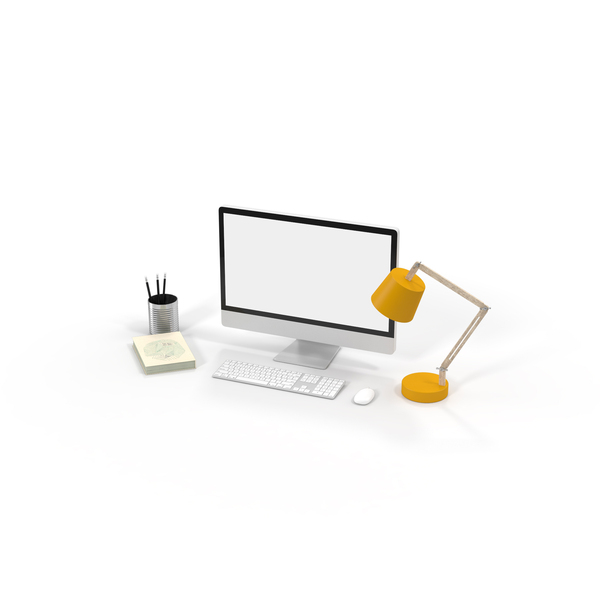 Desktop Computer, Desk Lamp and Office Supplies PNG & PSD Images