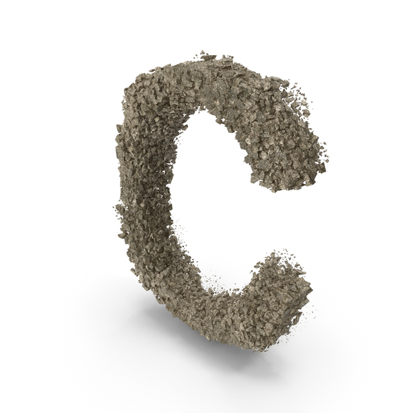Destruction Stone Letter C PNG & PSD Images