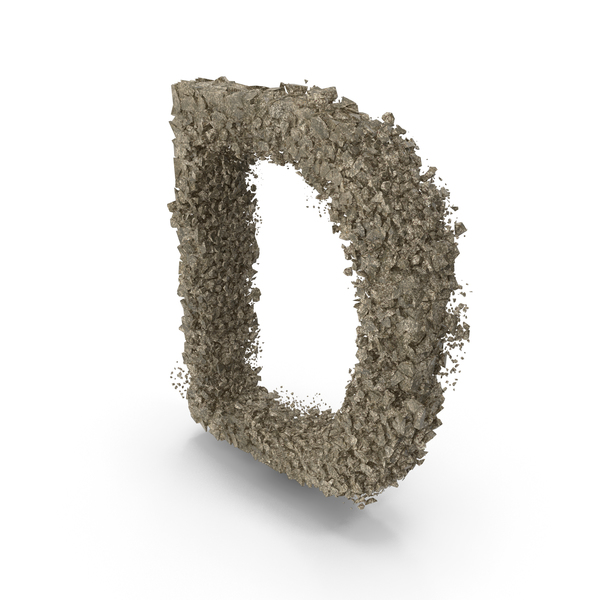 Destruction Stone Letter D PNG & PSD Images