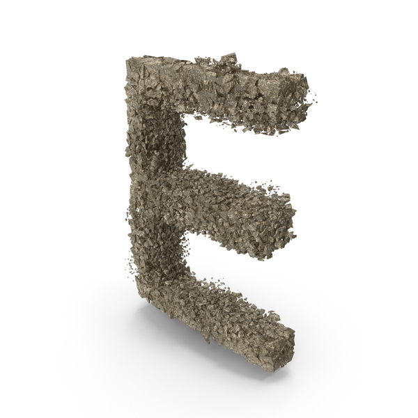 Destruction Stone Letter E PNG & PSD Images