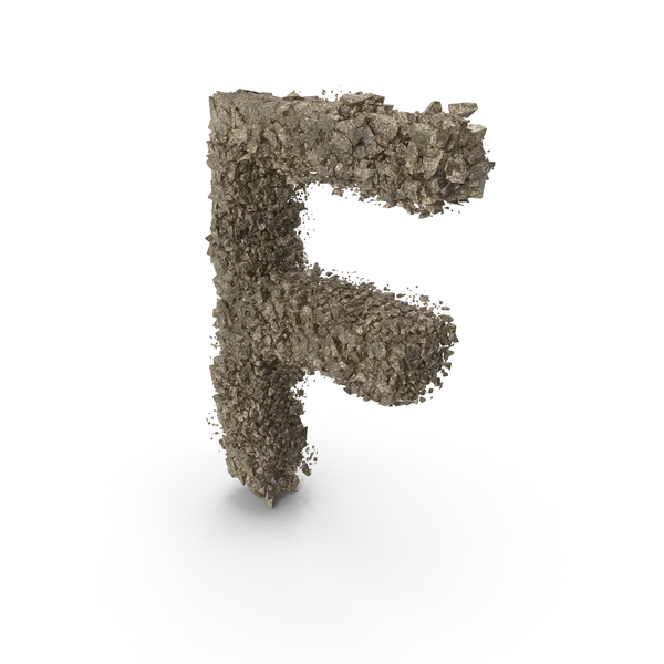 Destruction Stone Letter F PNG & PSD Images