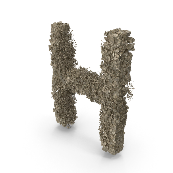 Destruction Stone Letter H PNG & PSD Images