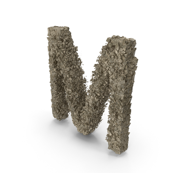 Destruction Stone Letter M PNG & PSD Images