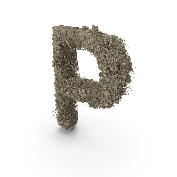 Destruction Stone Letter P PNG & PSD Images