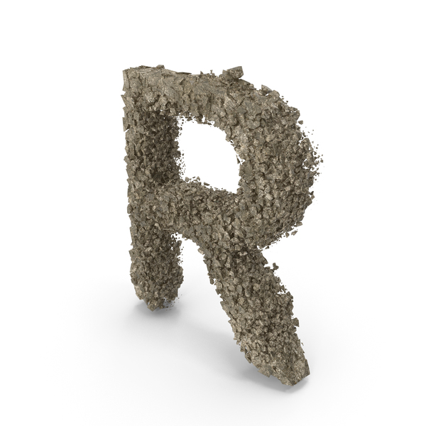 Destruction Stone Letter R PNG & PSD Images