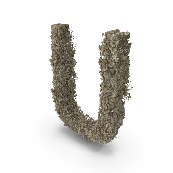 Destruction Stone Letter U PNG & PSD Images