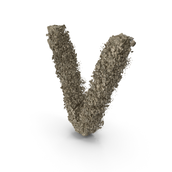 Destruction Stone Letter V PNG & PSD Images
