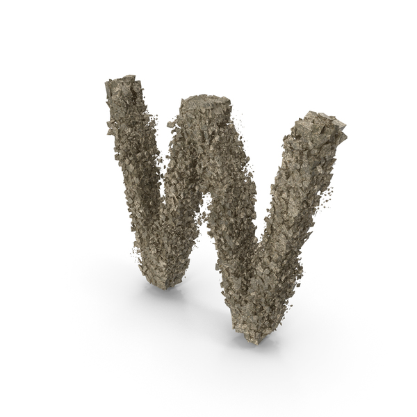 Destruction Stone Letter W PNG & PSD Images