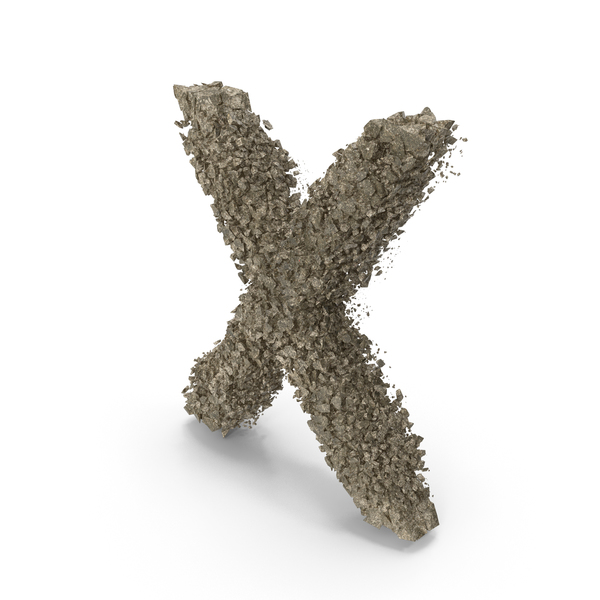 Destruction Stone Letter X PNG & PSD Images