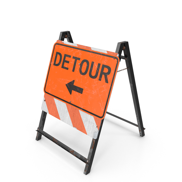 Construction Work: Detour Sign PNG & PSD Images