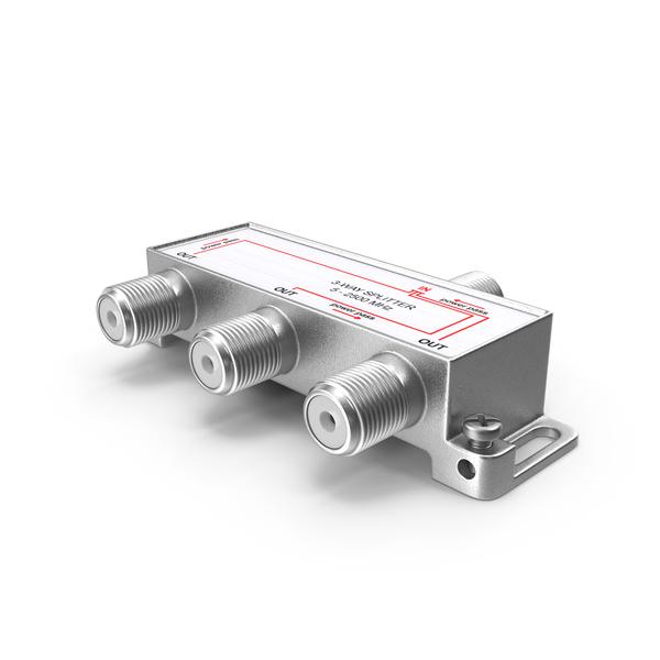 Coaxial: Digital Signal 3 Way Coax Cable Splitter PNG & PSD Images